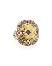 Konstantino | Metallic 18K Gold Rhodolite Statement Ring for Men | Lyst