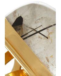 Saint Laurent - Gray Bague Cherry Gold-plated Quartz Ring - Lyst