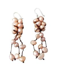 Aeravida | Cluster Drop Pink Pearls .925 Silver Earrings | Lyst