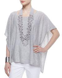 Eileen Fisher - Metallic Organic Linen Knotted Crochet Necklace - Lyst