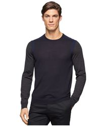 Calvin Klein | Blue Colorblocked Crew-neck Sweater for Men | Lyst