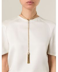 Lanvin - Metallic Tassel Pendant Necklace - Lyst