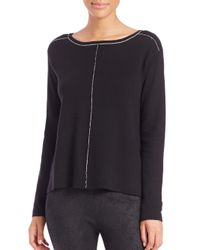 Splendid | Black Saddle Boatneck Sweater | Lyst