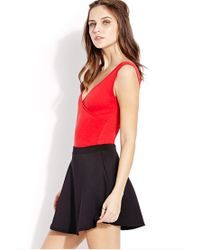 Forever 21 | Red Ruched Surplice Bodysuit | Lyst
