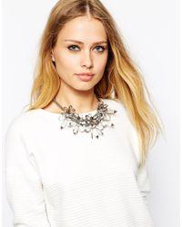 Coast - Gray Floral Grey Necklace - Lyst
