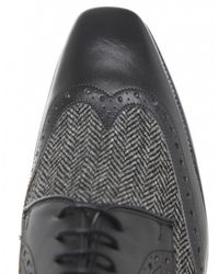 Jules B - Black Leather & Tweed Derby Shoes for Men - Lyst