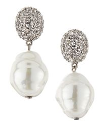 Kenneth Jay Lane | White Pav Crystal Pearly Drop Earrings | Lyst