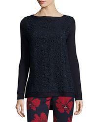 Lela Rose - Blue Long-sleeve Lace-front Sweater - Lyst