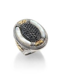 Konstantino - Metallic Ismene Mother-Of-Pearl, Black Spinel, 18K Yellow Gold & Sterling Silver Large Oval Ring - Lyst