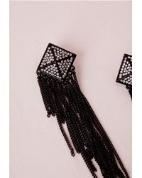 Missguided | Earrings Tassel Chain Black | Lyst