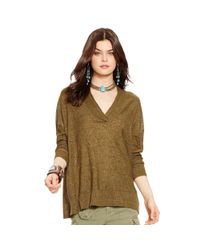 Polo Ralph Lauren - Green Linen V-neck Sweater - Lyst