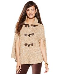 Michael Kors | Natural Michael Petite Toggle Mock-neck Sweater Poncho | Lyst
