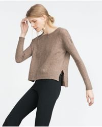 Zara | Brown Open Work Sweater | Lyst