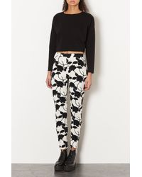 TOPSHOP - Black Textured Floral Flock Treggings - Lyst