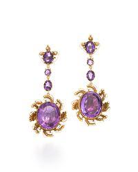 Fred Leighton - Purple Georgian Scrolling Amethyst Drop Earrings - Lyst
