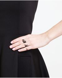 Gaydamak - Black Oxidised Gold And Diamond Three Finger Leaf Ring - Lyst