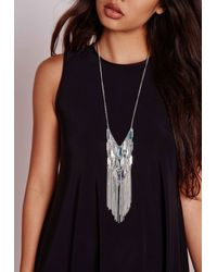 Missguided | Metallic Tassel Trim Layered Bar Necklace Silver | Lyst