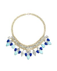 INC International Concepts - Blue Gold-tone Circle Chain And Colorful Stone Frontal Necklace - Lyst