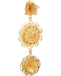 Dolce & Gabbana - Metallic Filigree Gold-Plated Swarovski Crystal Clip Earrings - Lyst