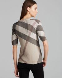 Burberry | Gray Brit Check Crewneck Sweater | Lyst