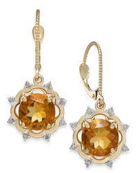 Macy's | Metallic Citrine (3-5/8 Ct. T.W.) And Diamond (1/6 Ct. T.W.) Drop Earrings In 14K Gold | Lyst