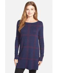 Caslon - Blue Plaid Bateau Neck Tunic Sweater - Lyst