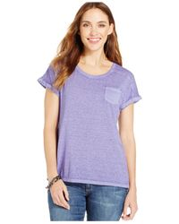 Style & Co. - Purple One-pocket Burnout Tee - Lyst