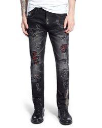 PRPS | Black 'demon - Botan' Destroyed Slim Straight Leg Jeans for Men | Lyst