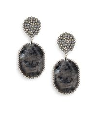 Cara - Metallic Cluster & Stone Drop Earrings - Lyst