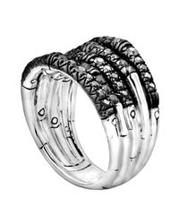 John Hardy | Bamboo Lava Wide Ring With Black Sapphires for Men | Lyst