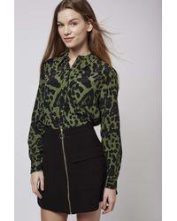 TOPSHOP - Multicolor Khaki Leopard Shirt - Lyst