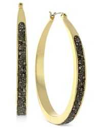 BCBGeneration - Metallic Gold-tone Black Crushed Pyrite Hoop Earrings - Lyst