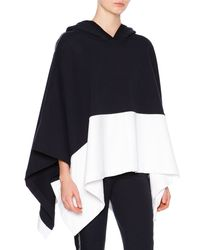 Callens - Blue Hooded Colorblock Cotton Cape - Lyst