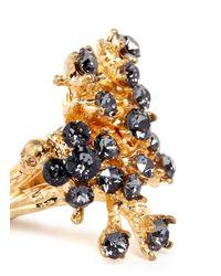 Alexander McQueen | Metallic Cherry Blossom Crystal Skull Ring | Lyst