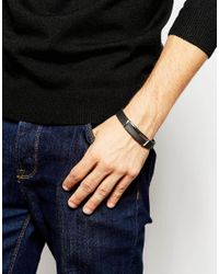 Seven London | Black Metal Detail Bracelet for Men | Lyst