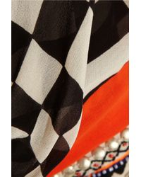 Vineet Bahl - Black Embellished Printed Chiffon Kaftan - Lyst