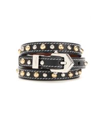 Givenchy - Black Studded Leather Bracelet - Lyst