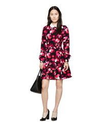 kate spade new york | Pink Falling Florals Crepe Dress | Lyst
