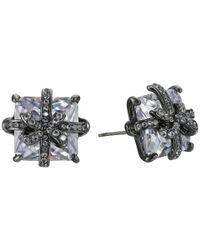 Betsey Johnson - Metallic Cz Bow Stud Earrings - Lyst