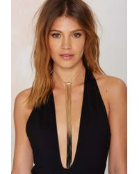 Nasty Gal - Metallic Fade To Black Chain Fringe Necklace - Lyst