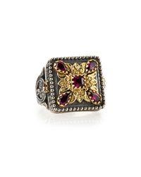 Konstantino - Metallic Silver & 18K Gold Rhodolite Square Ring - Lyst