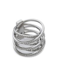 Michael Kors - Metallic Pave Crisscross Ring - Silver/clear - Lyst