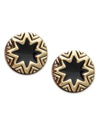 House of Harlow 1960 | Metallic Gold-tone Sunburst And Black Enamel Stud Earrings | Lyst