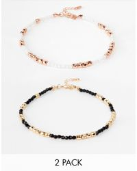 ASOS - Multicolor Pack Of 2 Pretty Bead Anklets - Lyst