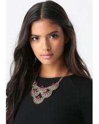 Bebe | Metallic Crystal & Filigree Necklace | Lyst