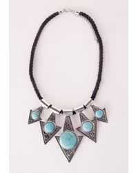 Missguided | Metallic Semi Precious Triangle Statement Necklace Silver | Lyst