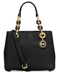 Michael Kors | Black Michael Cynthia Small North South Satchel | Lyst