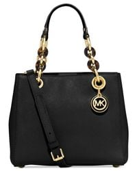 Michael Kors - Black Michael Cynthia Small North South Satchel - Lyst