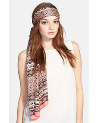 Vince Camuto - Pink Paisley Print Silk Scarf - Coral - Lyst