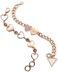 Guess | Pink Heart Charm Bracelet Set | Lyst